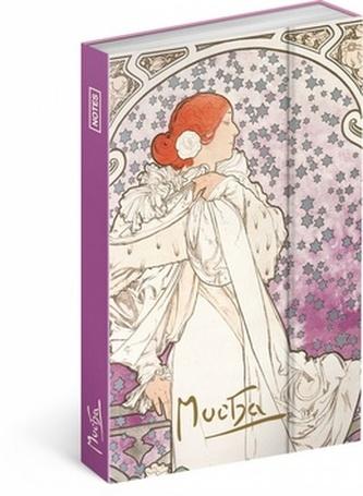 Notes - Alfons Mucha/Dáma, linkovaný, 10,5 x 15,8 cm