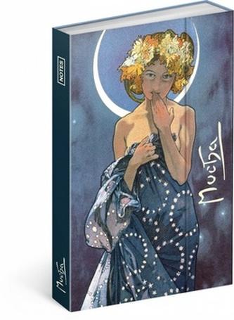 Notes - Alfons Mucha/Luna, linkovaný, 10,5 x 15,8 cm