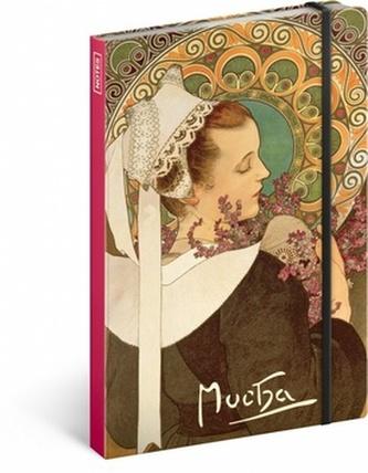 Notes - Alfons Mucha/Vřes, nelinkovaný, 13 x 21 cm