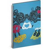 Blok - Mickey/Kiss, A4 linkovaný,spirálový