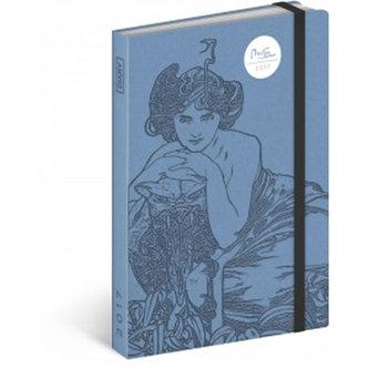 Diář 2017 - Alfons Mucha - týdenní/Modrý
