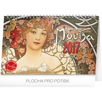Kalendář stolní 2017 - Alfons Mucha, 14,5x23,1cm