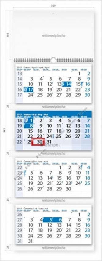 Kalendář nástěnný 2017 - Čtyřměsíční modrý