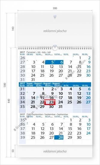 Kalendář nástěnný 2017 - Tříměsíční modrý s laší