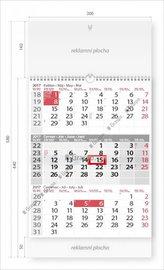 Kalendář nástěnný 2017 - Tříměsíční šedý s laší