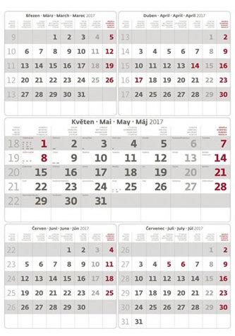Kalendář nástěnný 2017 - 5měsíční/šedý s jmenným kalendáriem