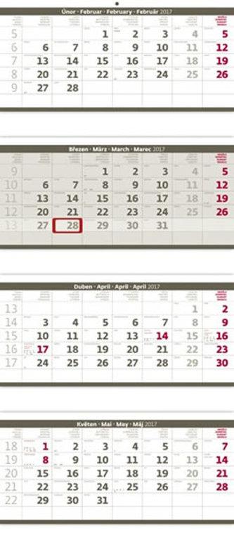Kalendář nástěnný 2017 - 4měsíční/šedý skládaný s jmenným kalendáriem