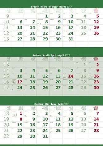 Kalendář nástěnný 2017 - 3měsíční/zelený s jmenným kalendáriem