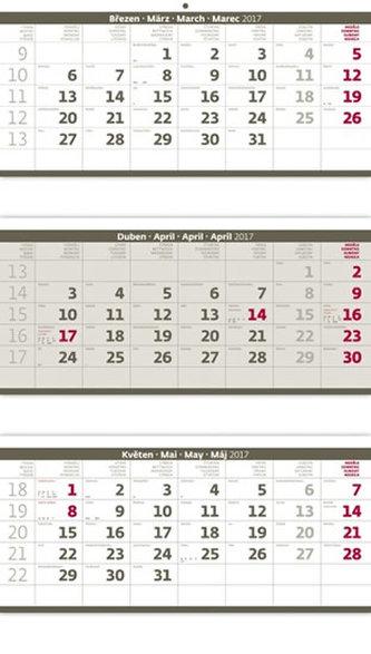 Kalendář nástěnný 2017 - 3měsíční/šedý skládaný s jmenným kalendáriem