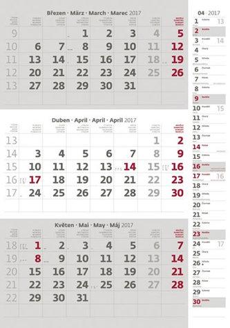 Kalendář nástěnný 2017 - 3měsíční/šedý s poznámkami a jmenným kalendáriem