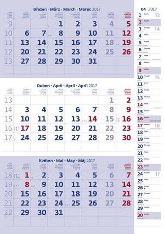 Kalendář nástěnný 2017 - 3měsíční/modrý s poznámkami a jmenným kalendáriem