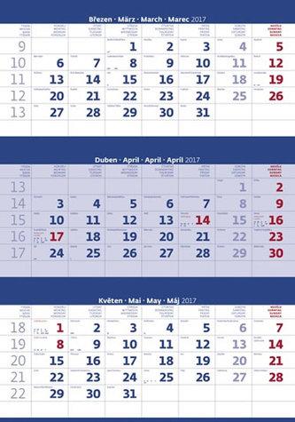 Kalendář nástěnný 2017 - 3měsíční/modrý s jmenným kalendáriem
