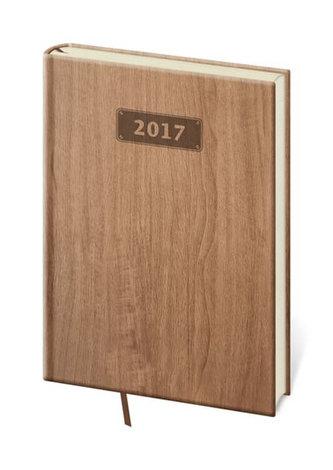 Diář 2017 - Wood/denní A5 světle hnědá