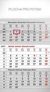 Štandard šedý 3mesačný - nástenný kalendár 2017