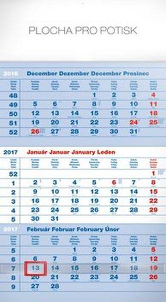 Štandard modrý 3mesačný - nástenný kalendár 2017