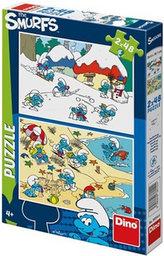 Hraví Šmoulové - puzzle 2x48