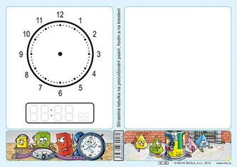 Stíratelná tabulka na procvičování psaní, hodin a na kreslení - neuveden