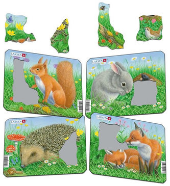 Puzzle MINI - Králík,veverka,ježek,liška/5 dílků (4 druhy)