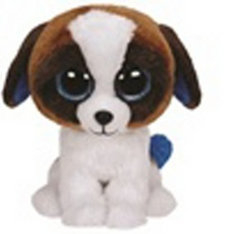Plyš očka střední hnědo-bílý pes