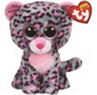 Plyš očka střední růžovo-šedý gepard