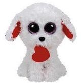 Plyš očka střední bílý pes se srdcem
