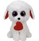 Plyš očka velká bílý pes se srdcem