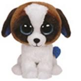 Plyš očka velká bílo-hnědý pes