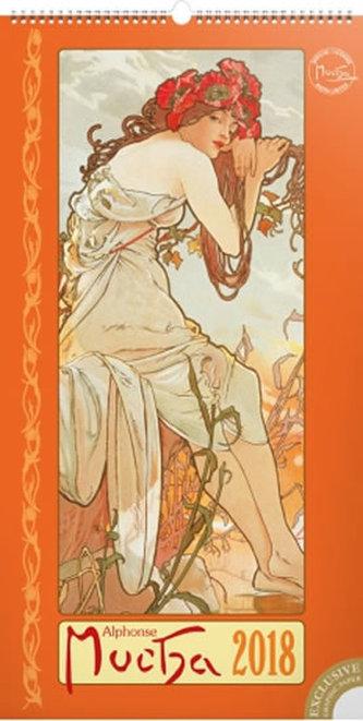 Kalendář nástěnný 2018 - Alfons Mucha, 33 x 64 cm - neuveden