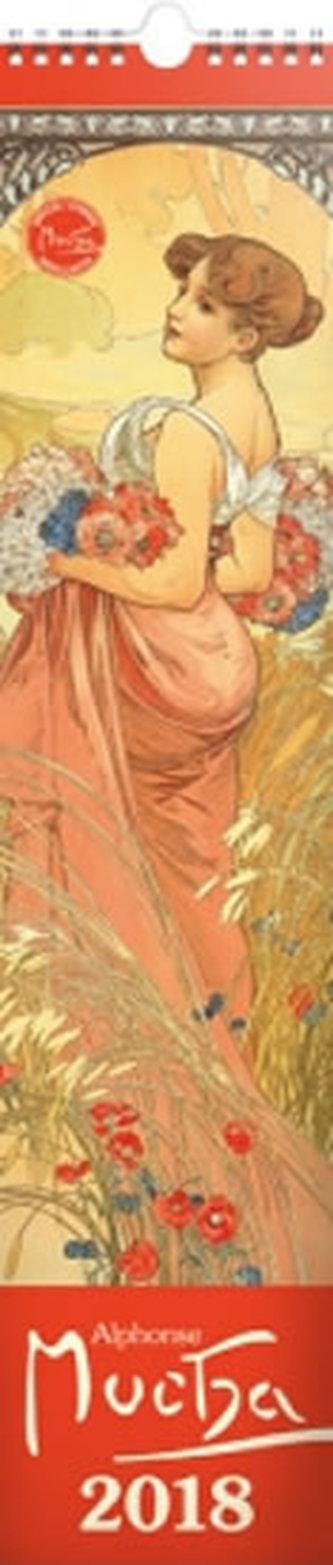 Kalendář nástěnný 2018 - Alfons Mucha, 10,5 x 48cm - neuveden