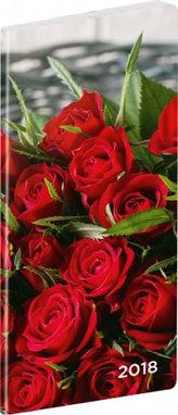 Diář 2018 - Růže - kapesní/plánovací měsíční, 8 x 18 cm