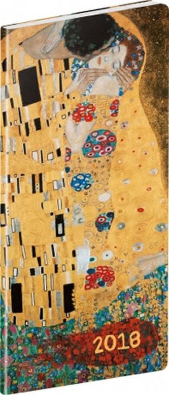Diář 2018 - Klimt - kapesní/plánovací měsíční, 8 x 18 cm