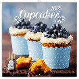 Kalendář poznámkový 2018 - Cupcakes, 30 x 30 cm