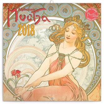 Kalendář poznámkový 2018 - Alfons Mucha, 30 x 30 cm - neuveden