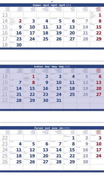Kalendář nástěnný 2018 - 3měsíční/modrý skládaný s jmenným kalendáriem