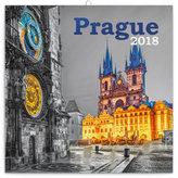 Kalendář poznámkový 2018 - Praha černobílá, 30 x 30 cm
