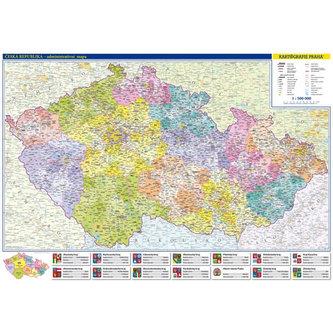 Česká republika - nástěnná administrativní mapa 1:500 tis./99x69 cm - neuveden