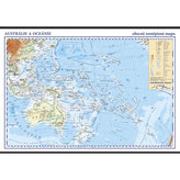 Austrálie a Oceánie - školní nástěnná zeměpisná mapa 1:13 mil./136x96 cm