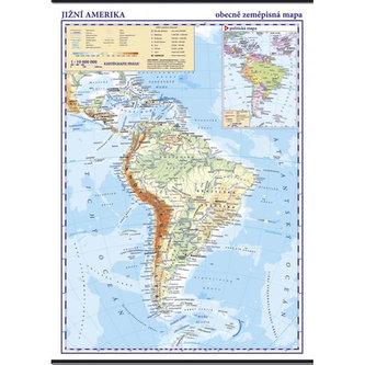 Jižní Amerika - školní nástěnná obecně zeměpisná mapa 1:10 mil/96x136 cm. - neuveden