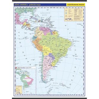Jižní Amerika - školní nástěnná politická mapa 1:10 mil./96x126,5 cm - Kartografie Praha