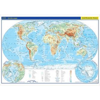 Svět - školní nástěnná fyzická mapa 1:26 mil./136x96 cm - neuveden