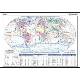 Svět - hydrosféra - školní nástěnná mapa 1:28 mil./136x96 cm - neuveden
