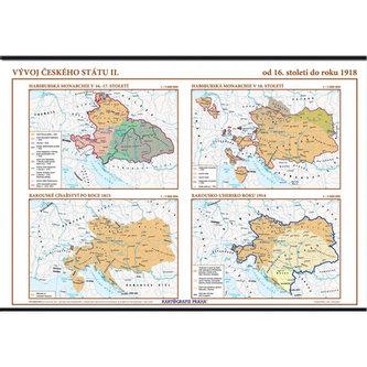 Vývoj českého státu II. (od 16. století do roku 1918) – školní nástěnná mapa/136 x 96 cm