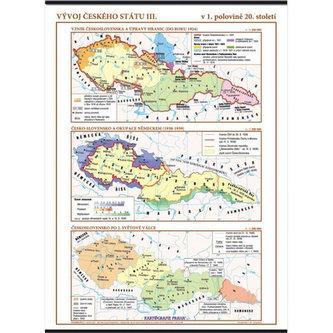 Vývoj českého státu III. (v 1. polovině 20. stol.) – školní nástěnná mapa/96 x 136 cm - neuveden