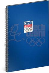 Blok - Český olympijský tým, modrý, linkovaný, spirálový, A4