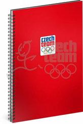 Blok - Český olympijský tým, červený, linkovaný, spirálový, A4