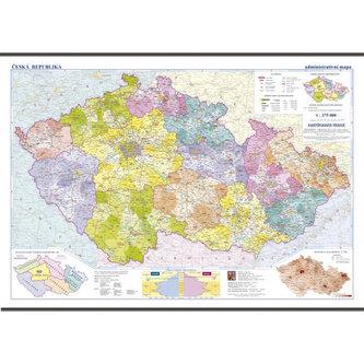 Česká republika - školní nástěnná administrativní mapa 1:375 tis./136x96 cm - neuveden