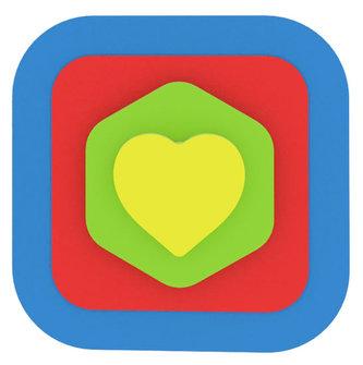 Moje první puzzle - Tvary čtverec/srdce modrá
