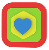 Moje první puzzle - Tvary čtverec/srdce červená