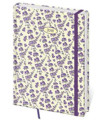 Diář 2018 - Vario Lavender/denní A5 s gumičkou