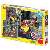 Mickey a Minnie - Závodníci - puzzle 3x55 dílků